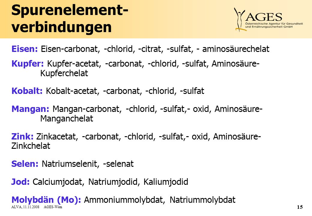 ALVA, 11.11.2008 AGES-Wien 15 Spurenelement- verbindungen Eisen: Eisen-carbonat, -chlorid, -citrat, -sulfat, - aminosäurechelat Kupfer: Kupfer-acetat, -carbonat, -chlorid, -sulfat, Aminosäure- Kupferchelat Kobalt: Kobalt-acetat, -carbonat, -chlorid, -sulfat Mangan: Mangan-carbonat, -chlorid, -sulfat,- oxid, Aminosäure- Manganchelat Zink: Zinkacetat, -carbonat, -chlorid, -sulfat,- oxid, Aminosäure- Zinkchelat Selen: Natriumselenit, -selenat Jod: Calciumjodat, Natriumjodid, Kaliumjodid Molybdän (Mo): Ammoniummolybdat, Natriummolybdat