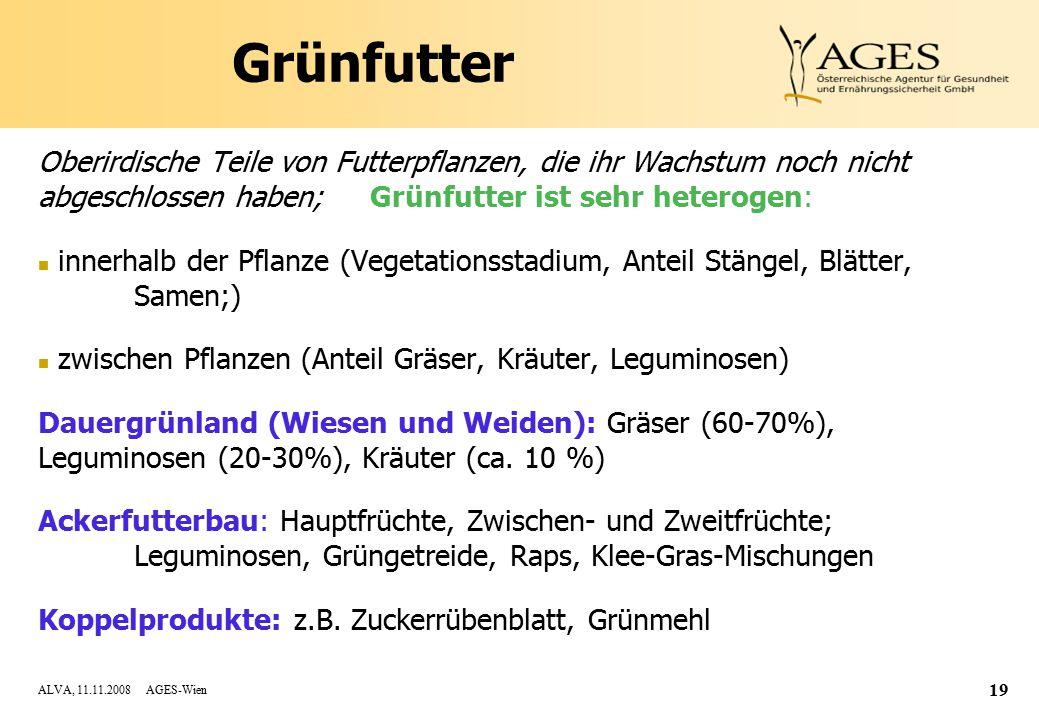 ALVA, 11.11.2008 AGES-Wien 19 Grünfutter Oberirdische Teile von Futterpflanzen, die ihr Wachstum noch nicht abgeschlossen haben; Grünfutter ist sehr heterogen: n innerhalb der Pflanze (Vegetationsstadium, Anteil Stängel, Blätter, Samen;) n zwischen Pflanzen (Anteil Gräser, Kräuter, Leguminosen) Dauergrünland (Wiesen und Weiden): Gräser (60-70%), Leguminosen (20-30%), Kräuter (ca.