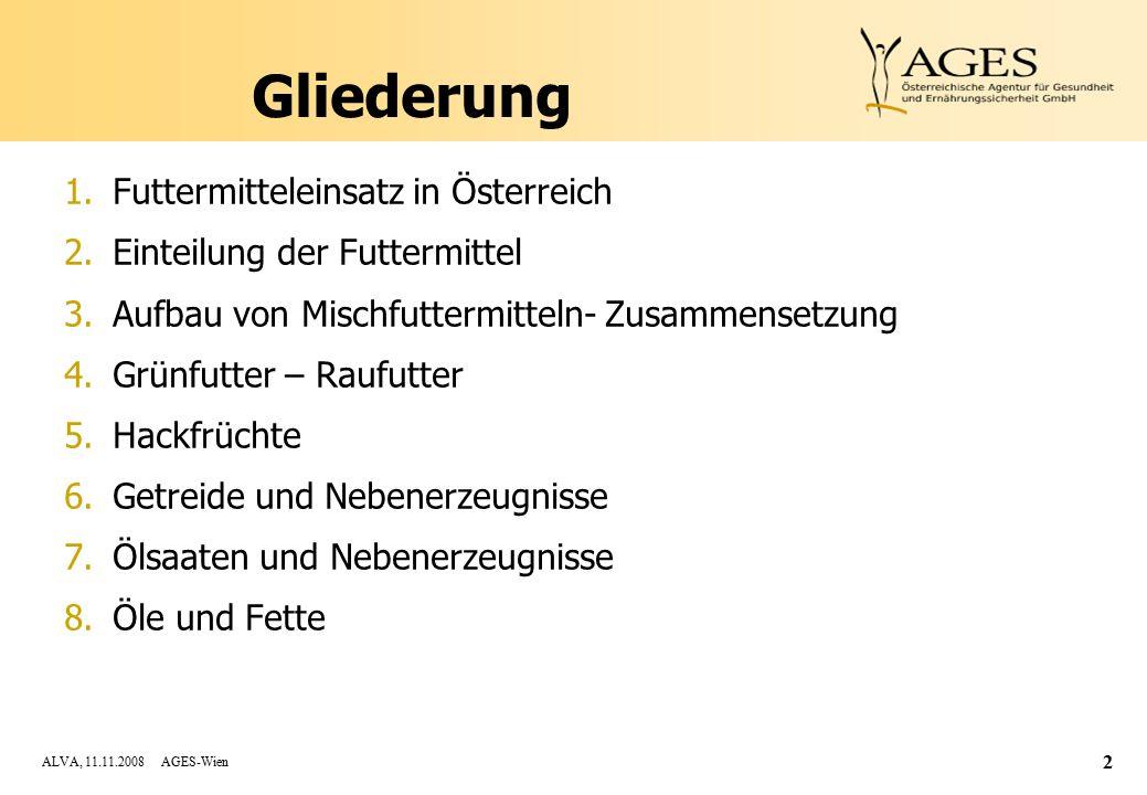 ALVA, 11.11.2008 AGES-Wien 2 Gliederung 1.Futtermitteleinsatz in Österreich 2.Einteilung der Futtermittel 3.Aufbau von Mischfuttermitteln- Zusammensetzung 4.Grünfutter – Raufutter 5.Hackfrüchte 6.Getreide und Nebenerzeugnisse 7.Ölsaaten und Nebenerzeugnisse 8.Öle und Fette