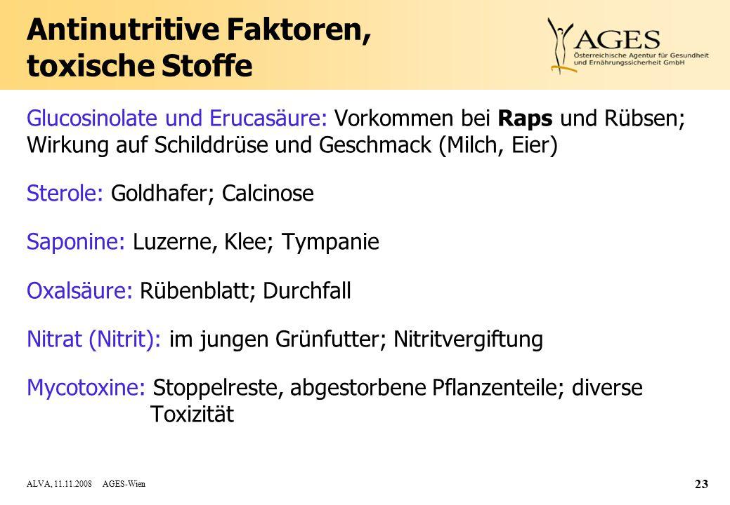 ALVA, 11.11.2008 AGES-Wien 23 Antinutritive Faktoren, toxische Stoffe Glucosinolate und Erucasäure: Vorkommen bei Raps und Rübsen; Wirkung auf Schilddrüse und Geschmack (Milch, Eier) Sterole: Goldhafer; Calcinose Saponine: Luzerne, Klee; Tympanie Oxalsäure: Rübenblatt; Durchfall Nitrat (Nitrit): im jungen Grünfutter; Nitritvergiftung Mycotoxine: Stoppelreste, abgestorbene Pflanzenteile; diverse Toxizität