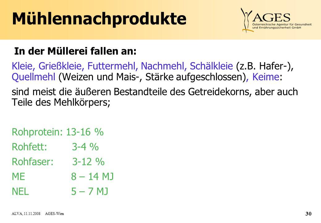 ALVA, 11.11.2008 AGES-Wien 30 Mühlennachprodukte In der Müllerei fallen an: Kleie, Grießkleie, Futtermehl, Nachmehl, Schälkleie (z.B.
