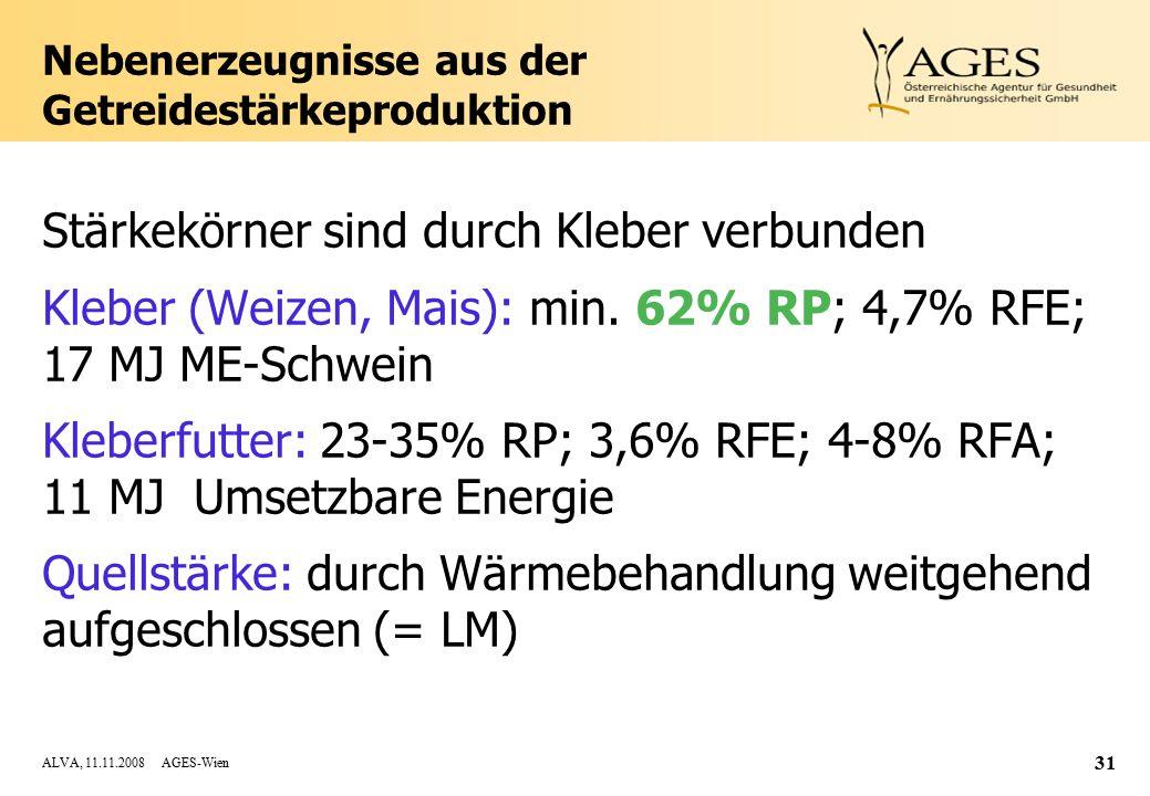 ALVA, 11.11.2008 AGES-Wien 31 Nebenerzeugnisse aus der Getreidestärkeproduktion Stärkekörner sind durch Kleber verbunden Kleber (Weizen, Mais): min.