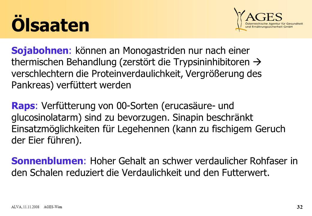 ALVA, 11.11.2008 AGES-Wien 32 Ölsaaten Sojabohnen: können an Monogastriden nur nach einer thermischen Behandlung (zerstört die Trypsininhibitoren  verschlechtern die Proteinverdaulichkeit, Vergrößerung des Pankreas) verfüttert werden Raps: Verfütterung von 00-Sorten (erucasäure- und glucosinolatarm) sind zu bevorzugen.