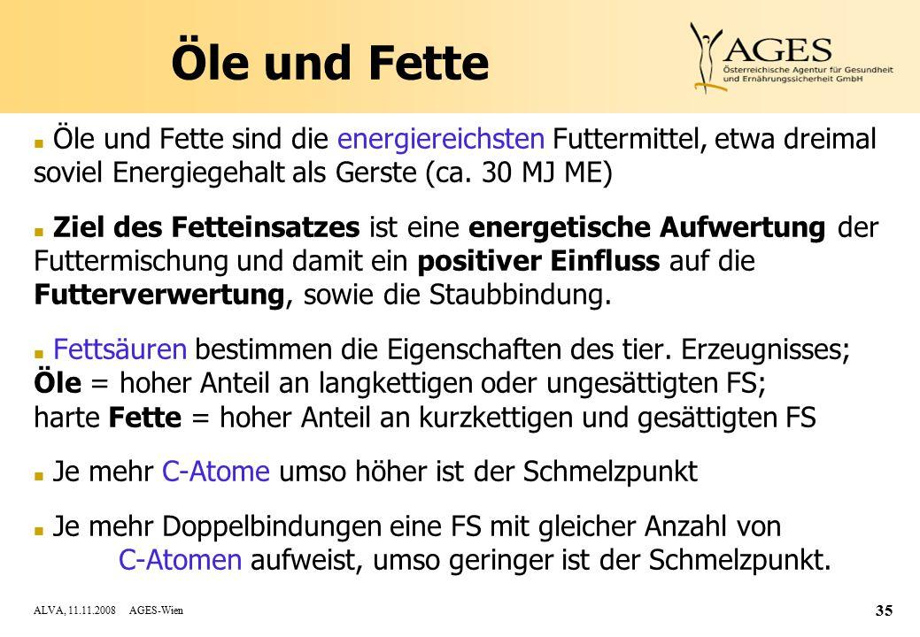ALVA, 11.11.2008 AGES-Wien 35 Öle und Fette n Öle und Fette sind die energiereichsten Futtermittel, etwa dreimal soviel Energiegehalt als Gerste (ca.