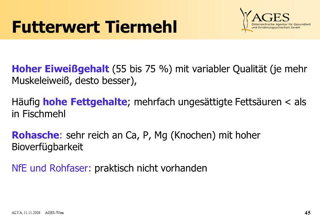 ALVA, 11.11.2008 AGES-Wien 45 Futterwert Tiermehl Hoher Eiweißgehalt (55 bis 75 %) mit variabler Qualität (je mehr Muskeleiweiß, desto besser), Häufig hohe Fettgehalte; mehrfach ungesättigte Fettsäuren < als in Fischmehl Rohasche: sehr reich an Ca, P, Mg (Knochen) mit hoher Bioverfügbarkeit NfE und Rohfaser: praktisch nicht vorhanden