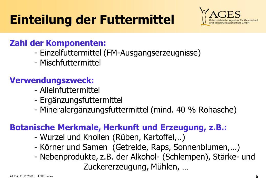 ALVA, 11.11.2008 AGES-Wien 6 Einteilung der Futtermittel Zahl der Komponenten: - Einzelfuttermittel (FM-Ausgangserzeugnisse) - Mischfuttermittel Verwendungszweck: - Alleinfuttermittel - Ergänzungsfuttermittel - Mineralergänzungsfuttermittel (mind.