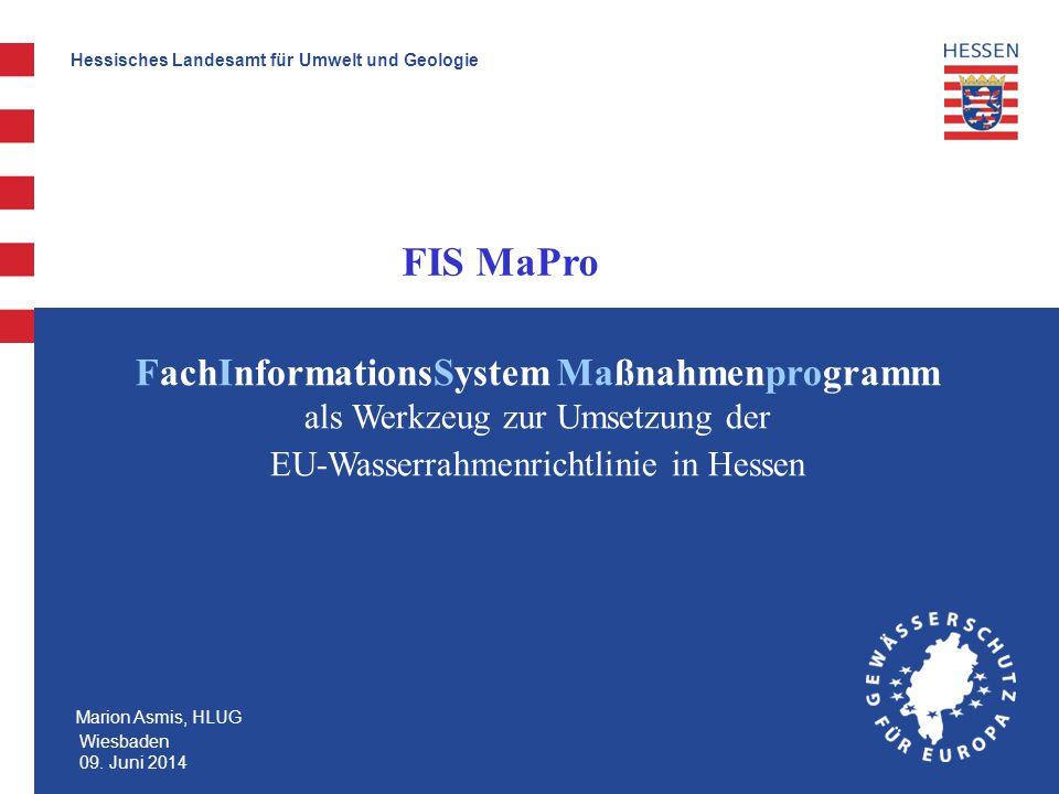 Hessische Landesamt für Umwelt und Geologie Verwaltung der Maßnahmen in FIS MaPro Wasserkörper Übersicht Maßnahmen FIS MaPro stellt diverse Formulare für die Erfassung und Pflege der EU-WRRL-Maßnahmen zur Verfügung Maßnahmen werden pro Wasserkörper (Gewässereinzugsgebiete > 10 km²) angelegt