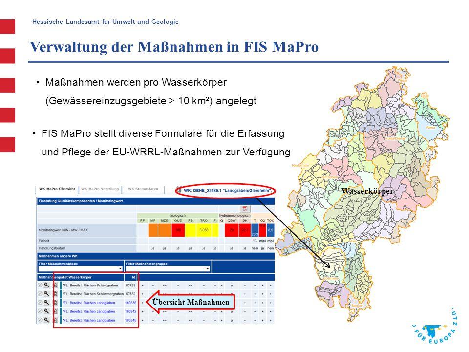 Hessische Landesamt für Umwelt und Geologie Verwaltung der Maßnahmen in FIS MaPro Wasserkörper Übersicht Maßnahmen FIS MaPro stellt diverse Formulare