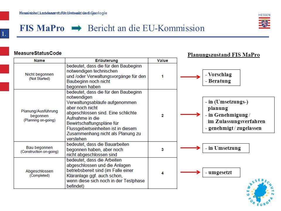 Hessische Landesamt für Umwelt und Geologie Hessisches Landesamt für Umwelt und Geologie FIS MaPro Bericht an die EU-Kommission 1. Planungszustand FIS