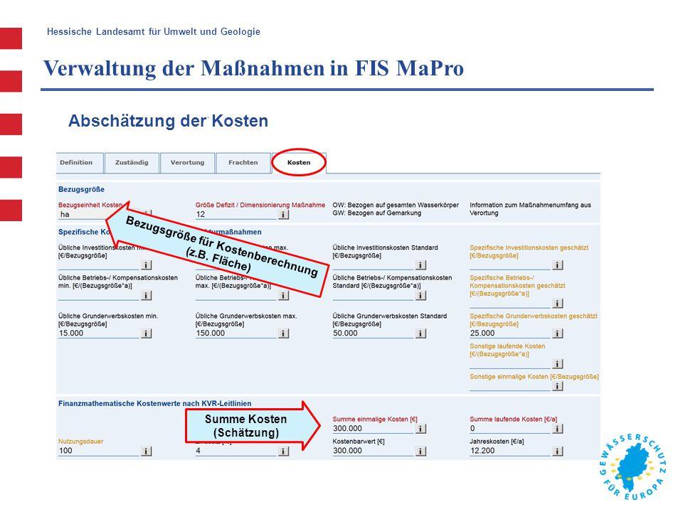 Hessische Landesamt für Umwelt und Geologie Verwaltung der Maßnahmen in FIS MaPro Bezugsgröße für Kostenberechnung (z.B. Fläche) Summe Kosten (Schätzu