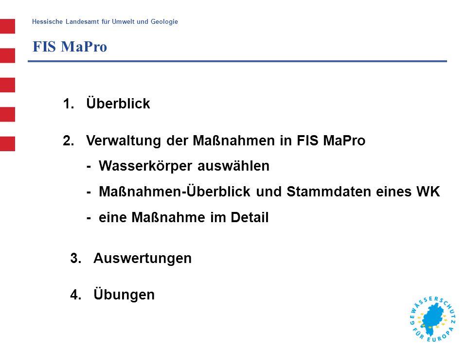 Hessische Landesamt für Umwelt und Geologie FIS MaPro 1.Überblick 2.Verwaltung der Maßnahmen in FIS MaPro - Wasserkörper auswählen - Maßnahmen-Überbli