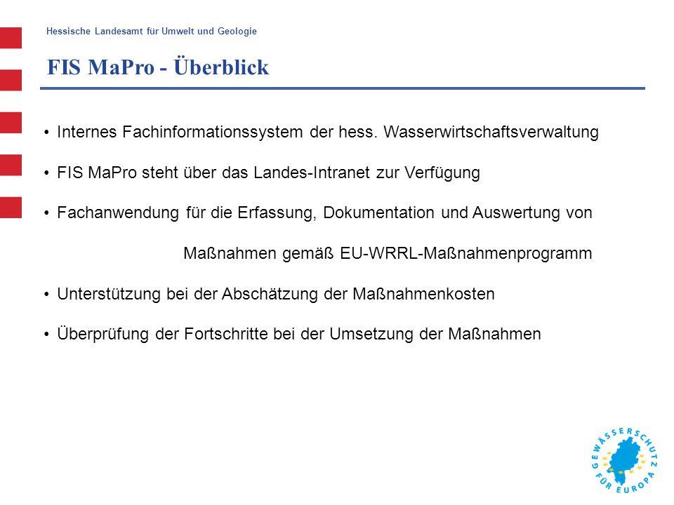 Hessische Landesamt für Umwelt und Geologie  Informations- und Berichtspflichten FIS MaPro FIS MaPro - Überblick Zugriff auf FIS MaPro