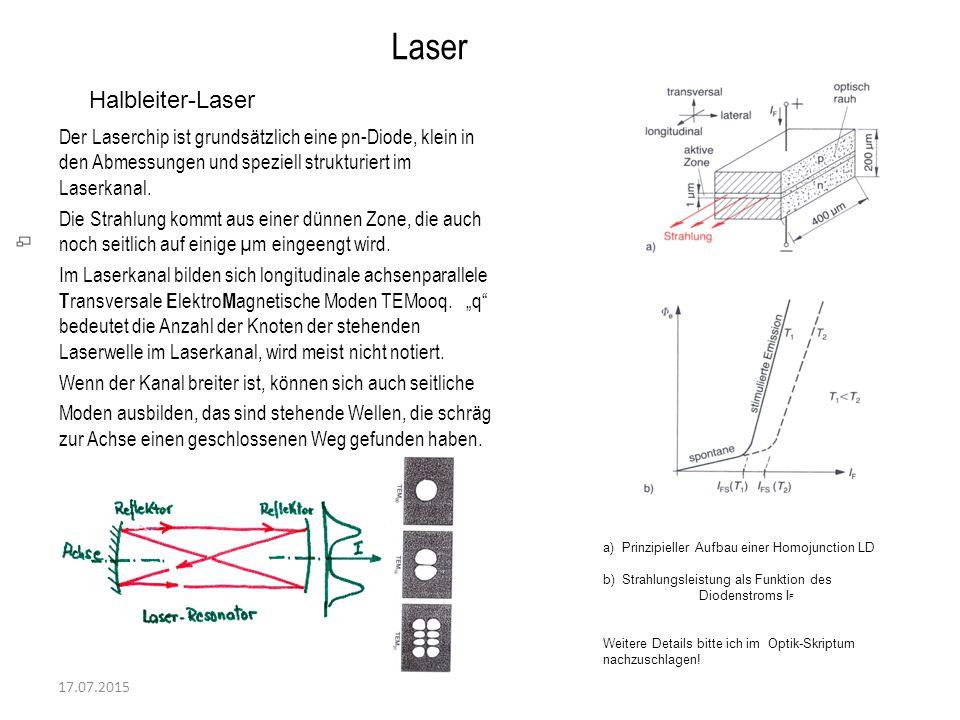 17.07.2015 Laser Halbleiter-Laser Der Laserchip ist grundsätzlich eine pn-Diode, klein in den Abmessungen und speziell strukturiert im Laserkanal. Die