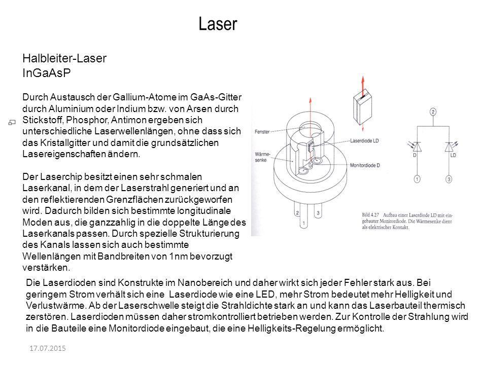 17.07.2015 Laser Halbleiter-Laser InGaAsP Durch Austausch der Gallium-Atome im GaAs-Gitter durch Aluminium oder Indium bzw. von Arsen durch Stickstoff