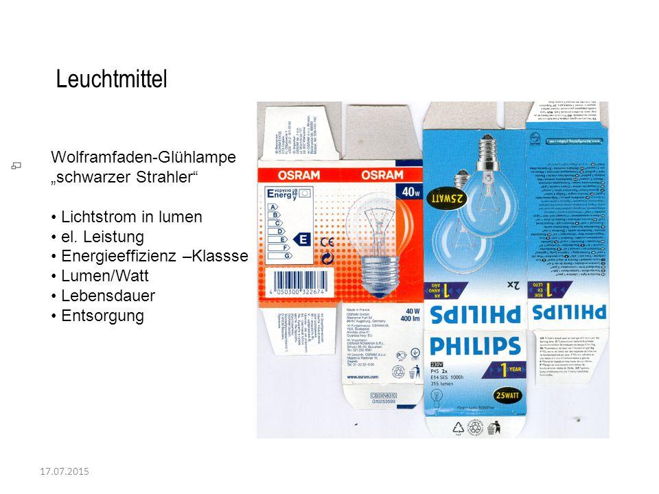 """17.07.2015 Leuchtmittel Wolframfaden-Glühlampe """"schwarzer Strahler"""" Lichtstrom in lumen el. Leistung Energieeffizienz –Klassse Lumen/Watt Lebensdauer"""