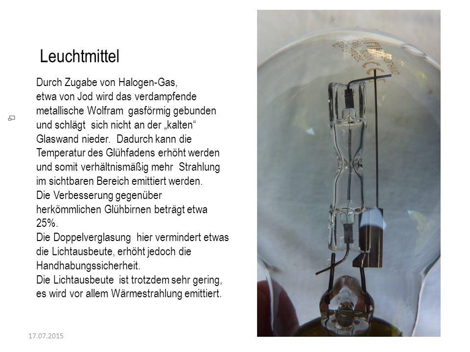 17.07.2015 Leuchtmittel Durch Zugabe von Halogen-Gas, etwa von Jod wird das verdampfende metallische Wolfram gasförmig gebunden und schlägt sich nicht