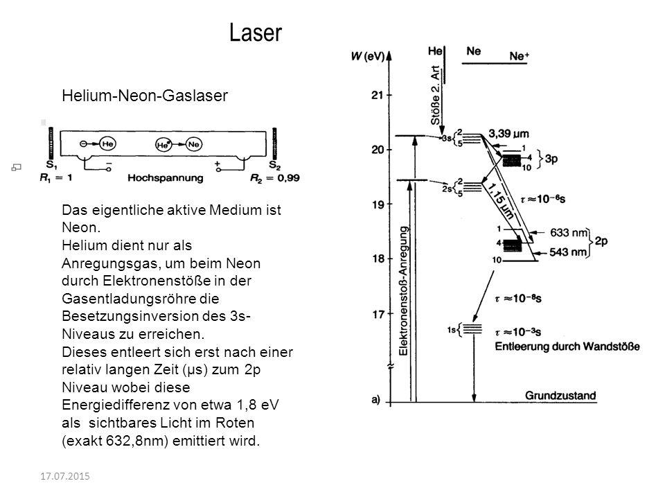 17.07.2015 Laser Helium-Neon-Gaslaser Das eigentliche aktive Medium ist Neon. Helium dient nur als Anregungsgas, um beim Neon durch Elektronenstöße in
