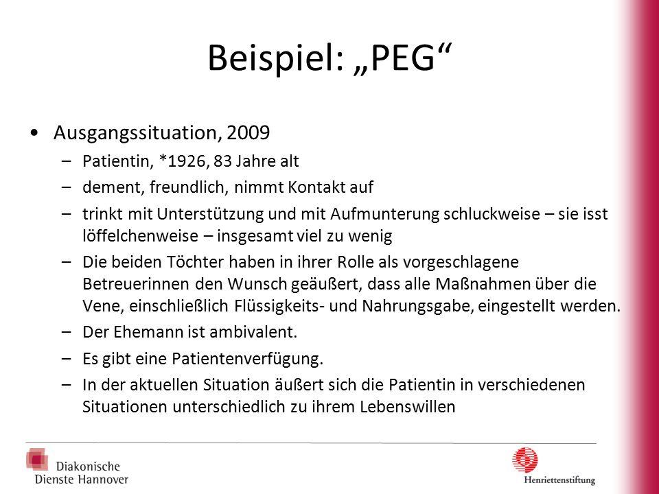 """Beispiel: """"PEG"""" Ausgangssituation, 2009 –Patientin, *1926, 83 Jahre alt –dement, freundlich, nimmt Kontakt auf –trinkt mit Unterstützung und mit Aufmu"""