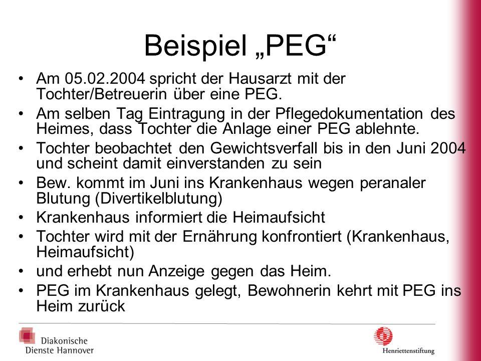 """Beispiel """"PEG"""" Am 05.02.2004 spricht der Hausarzt mit der Tochter/Betreuerin über eine PEG. Am selben Tag Eintragung in der Pflegedokumentation des He"""