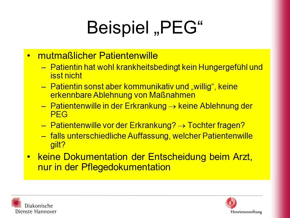 """Beispiel """"PEG"""" mutmaßlicher Patientenwille –Patientin hat wohl krankheitsbedingt kein Hungergefühl und isst nicht –Patientin sonst aber kommunikativ u"""
