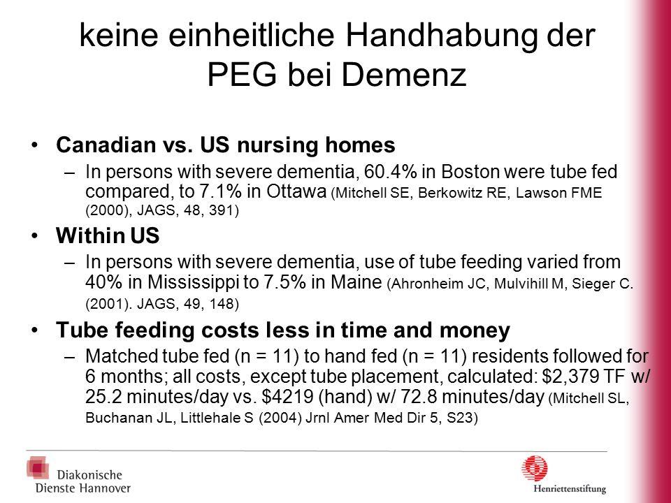 keine einheitliche Handhabung der PEG bei Demenz Canadian vs. US nursing homes –In persons with severe dementia, 60.4% in Boston were tube fed compare
