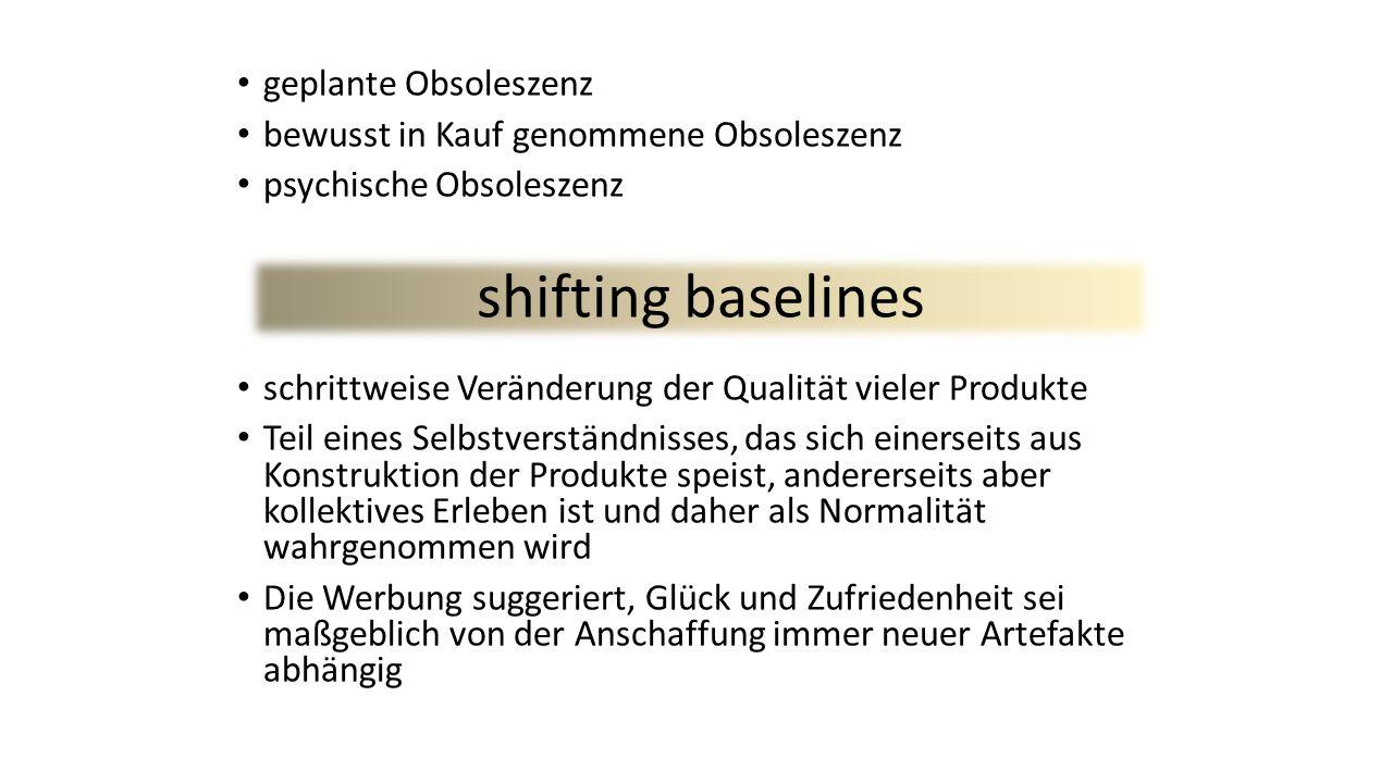geplante Obsoleszenz bewusst in Kauf genommene Obsoleszenz psychische Obsoleszenz schrittweise Veränderung der Qualität vieler Produkte Teil eines Sel