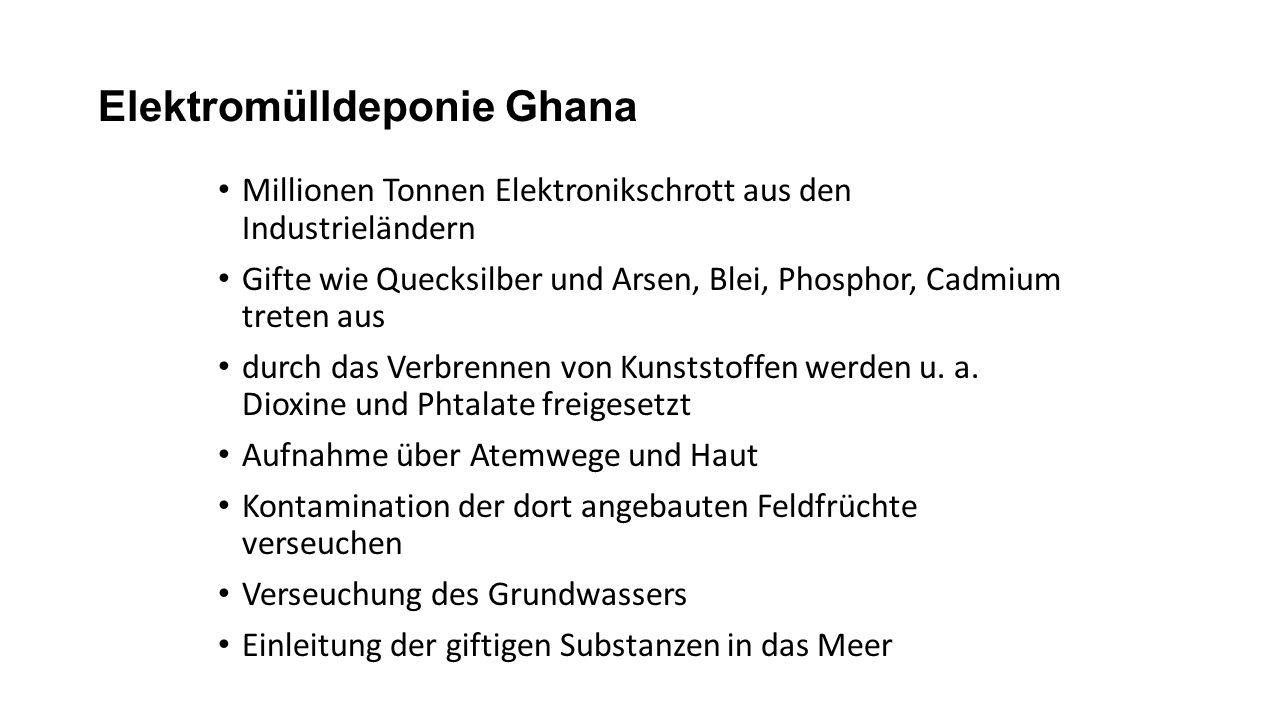 Elektromülldeponie Ghana Millionen Tonnen Elektronikschrott aus den Industrieländern Gifte wie Quecksilber und Arsen, Blei, Phosphor, Cadmium treten a