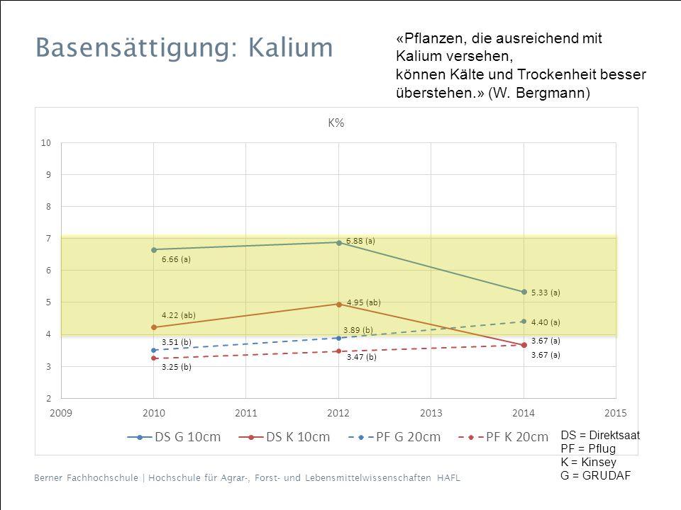 Berner Fachhochschule | Hochschule für Agrar-, Forst- und Lebensmittelwissenschaften HAFL Basensättigung: Kalium «Pflanzen, die ausreichend mit Kalium versehen, können Kälte und Trockenheit besser überstehen.» (W.