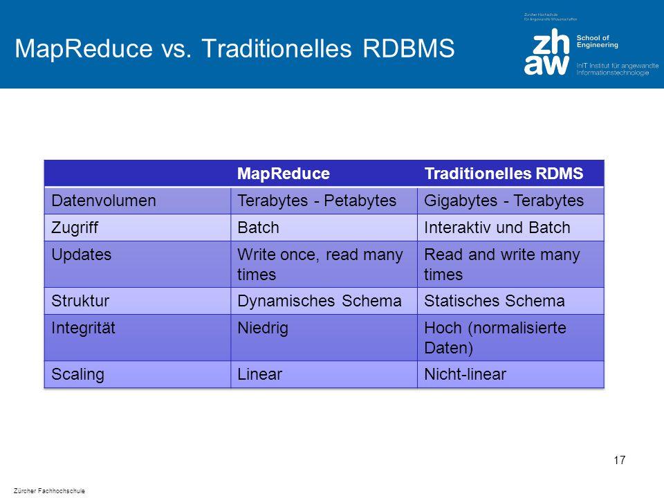 Zürcher Fachhochschule MapReduce vs. Traditionelles RDBMS 17