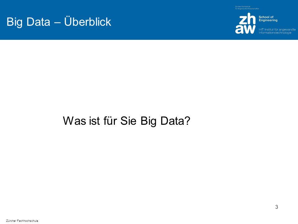 Zürcher Fachhochschule HDFS Verwendung Gut für: grosse Daten: Datei kann grösser als einzelne Disk sein Streaming (write-once-read-many): 64 MB Datenblöcke Commodity Hardware (Fehlertoleranz) Schlecht für: Viele kleine Daten Low-latency Zugriff (schnelle Antwortzeiten) Viele Schreibzugriffe an unterschiedlichen Dateipositionen 24