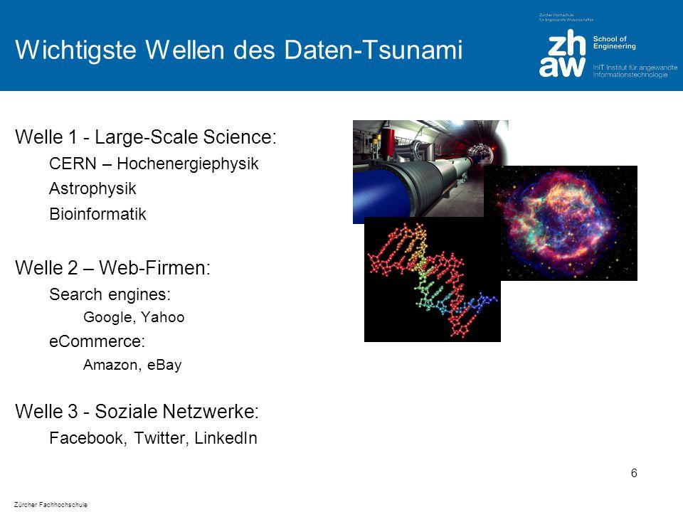 Zürcher Fachhochschule Big Data ist Realität – Daten generiert pro Minute im Internet Volumina pro Minute (Juni 2012): http://www.visualnews.com/2012/06/19/how-much-data-created-every-minute/ 7