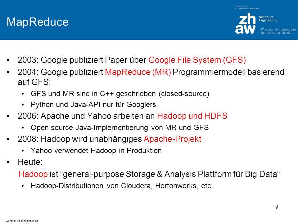Zürcher Fachhochschule MapReduce 2003: Google publiziert Paper über Google File System (GFS) 2004: Google publiziert MapReduce (MR) Programmiermodell basierend auf GFS: GFS und MR sind in C++ geschrieben (closed-source) Python und Java-API nur für Googlers 2006: Apache und Yahoo arbeiten an Hadoop und HDFS Open source Java-Implementierung von MR und GFS 2008: Hadoop wird unabhängiges Apache-Projekt Yahoo verwendet Hadoop in Produktion Heute: Hadoop ist general-purpose Storage & Analysis Plattform für Big Data Hadoop-Distributionen von Cloudera, Hortonworks, etc.