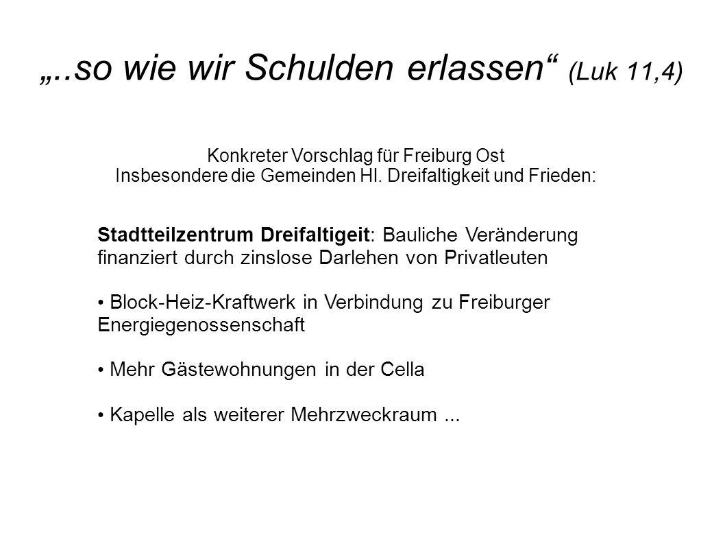 """""""..so wie wir Schulden erlassen"""" (Luk 11,4) Konkreter Vorschlag für Freiburg Ost Insbesondere die Gemeinden Hl. Dreifaltigkeit und Frieden: Stadtteilz"""