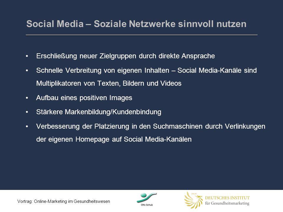 Erschließung neuer Zielgruppen durch direkte Ansprache Schnelle Verbreitung von eigenen Inhalten – Social Media-Kanäle sind Multiplikatoren von Texten