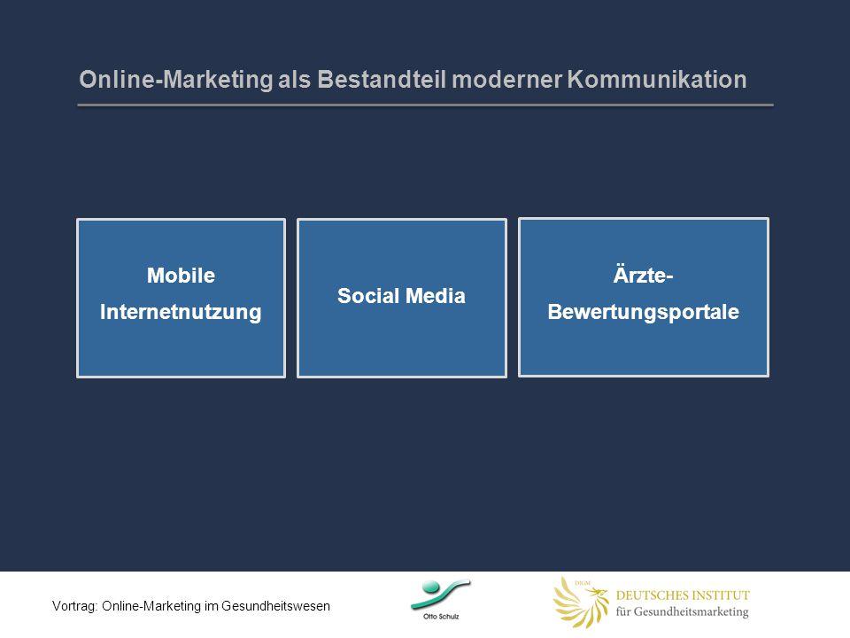 Online-Marketing als Bestandteil moderner Kommunikation Mobile Internetnutzung 9 Social Media Ärzte- Bewertungsportale Vortrag: Online-Marketing im Ge