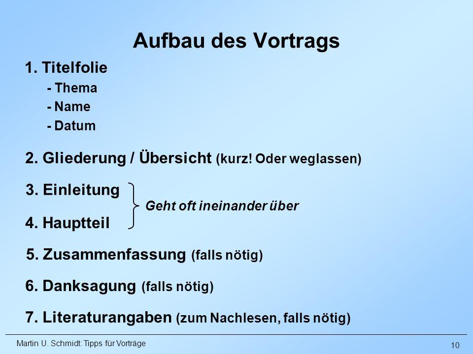 Martin U. Schmidt: Tipps für Vorträge Aufbau des Vortrags 1. Titelfolie - Thema - Name - Datum 2. Gliederung / Übersicht (kurz! Oder weglassen) 4. Hau