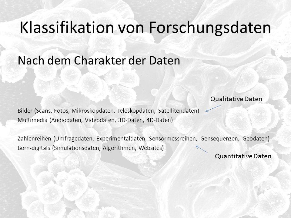 Klassifikation von Forschungsdaten Nach dem Charakter der Daten Bilder (Scans, Fotos, Mikroskopdaten, Teleskopdaten, Satellitendaten) Multimedia (Audi