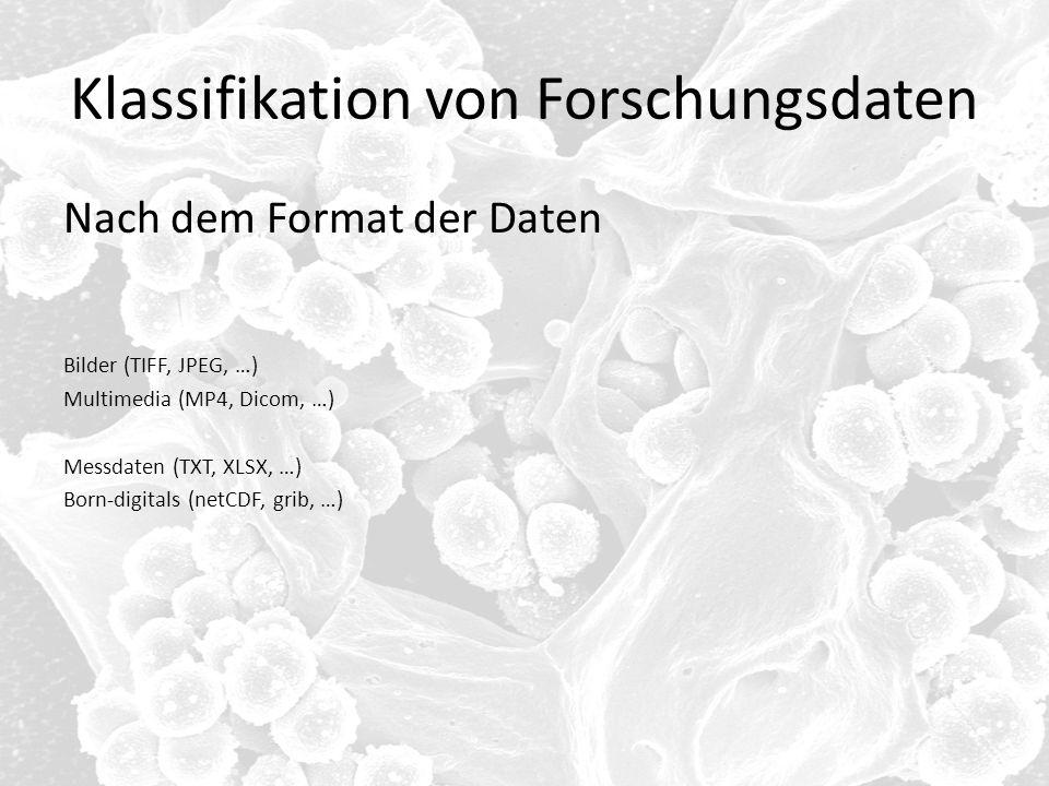 Klassifikation von Forschungsdaten Nach dem Format der Daten Bilder (TIFF, JPEG, …) Multimedia (MP4, Dicom, …) Messdaten (TXT, XLSX, …) Born-digitals