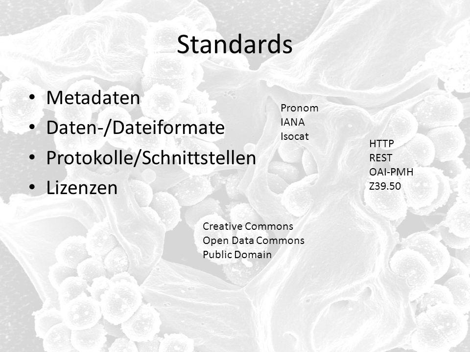 Standards Metadaten Daten-/Dateiformate Protokolle/Schnittstellen Lizenzen HTTP REST OAI-PMH Z39.50 Pronom IANA Isocat Creative Commons Open Data Comm