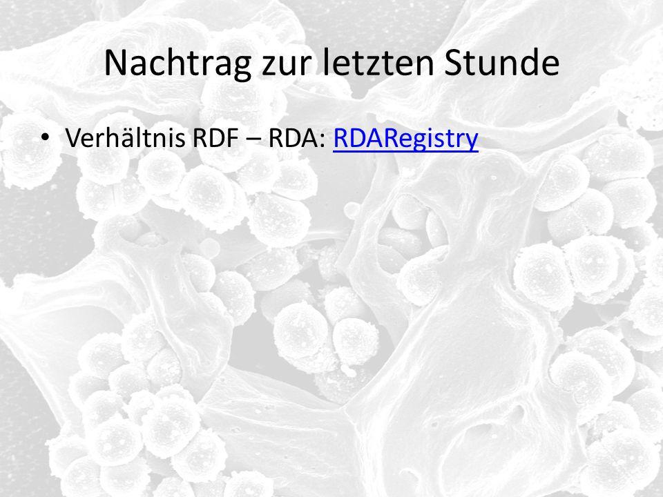 Nachtrag zur letzten Stunde Verhältnis RDF – RDA: RDARegistryRDARegistry