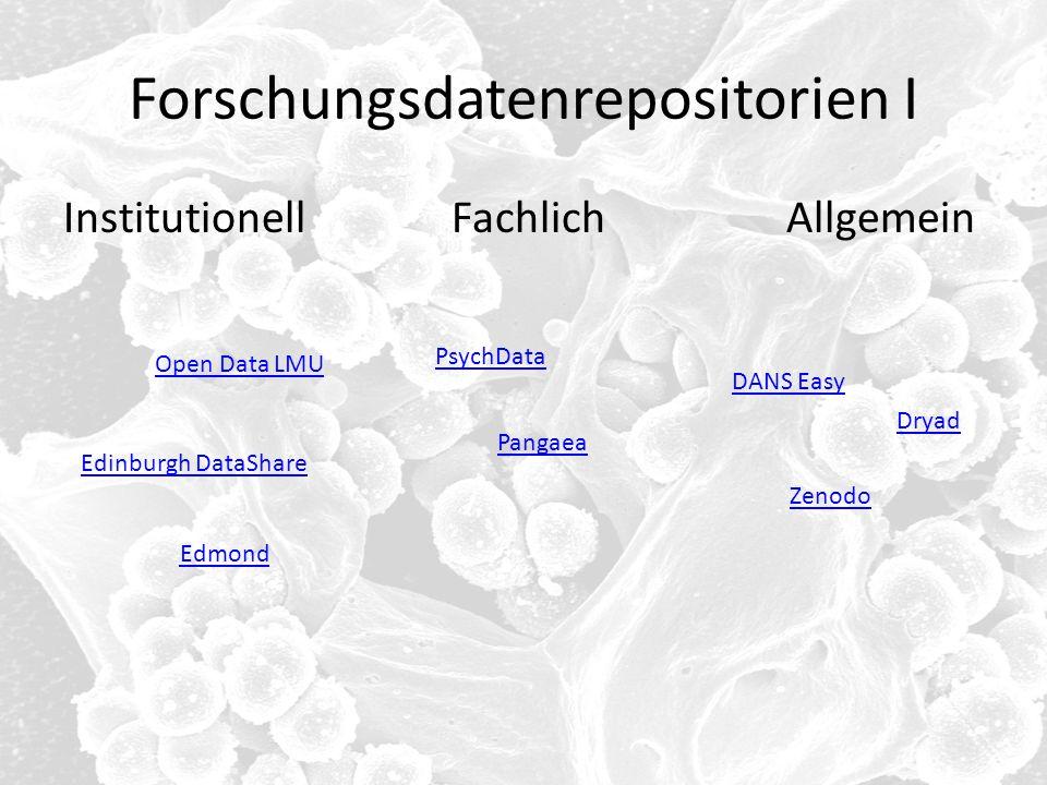 Forschungsdatenrepositorien I Institutionell Fachlich Allgemein DANS Easy Zenodo Edinburgh DataShare Dryad PsychData Pangaea Open Data LMU Edmond