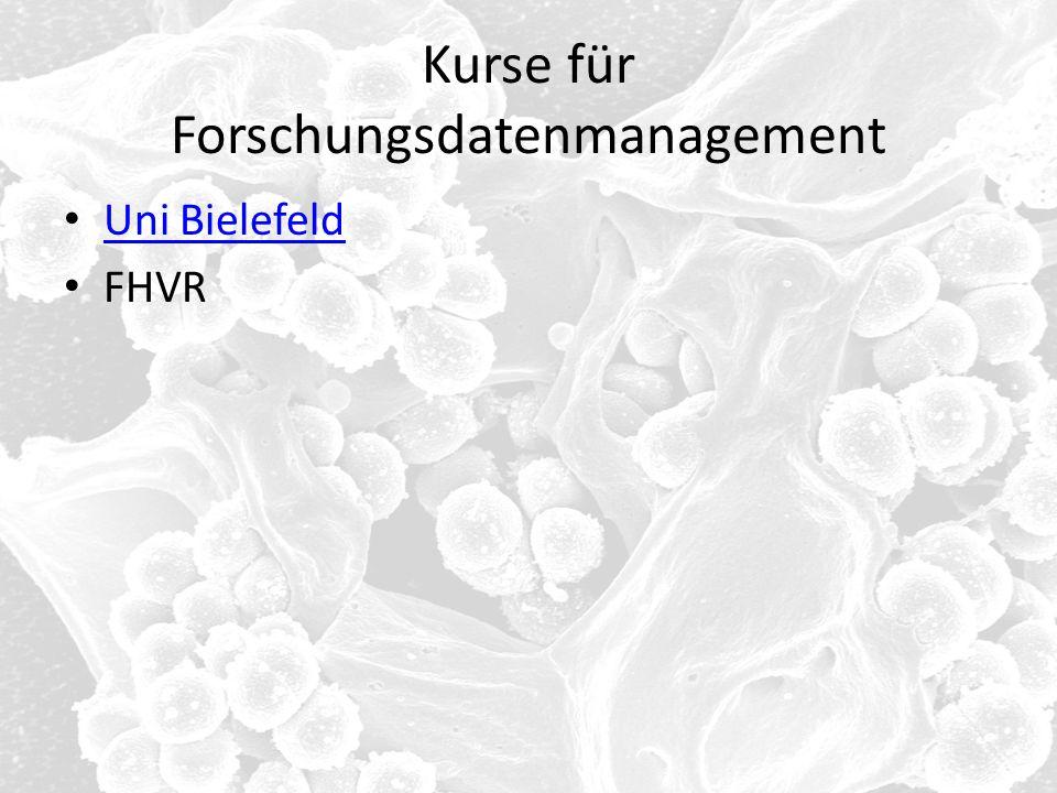 Kurse für Forschungsdatenmanagement Uni Bielefeld FHVR