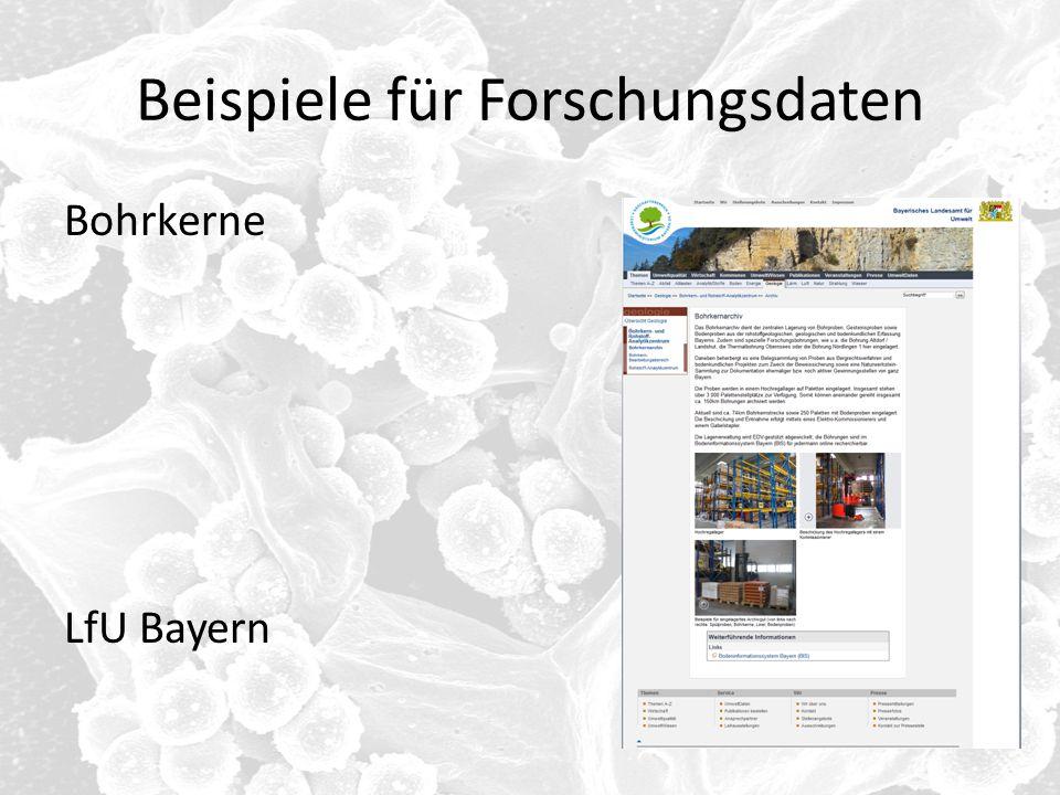Beispiele für Forschungsdaten Bohrkerne LfU Bayern