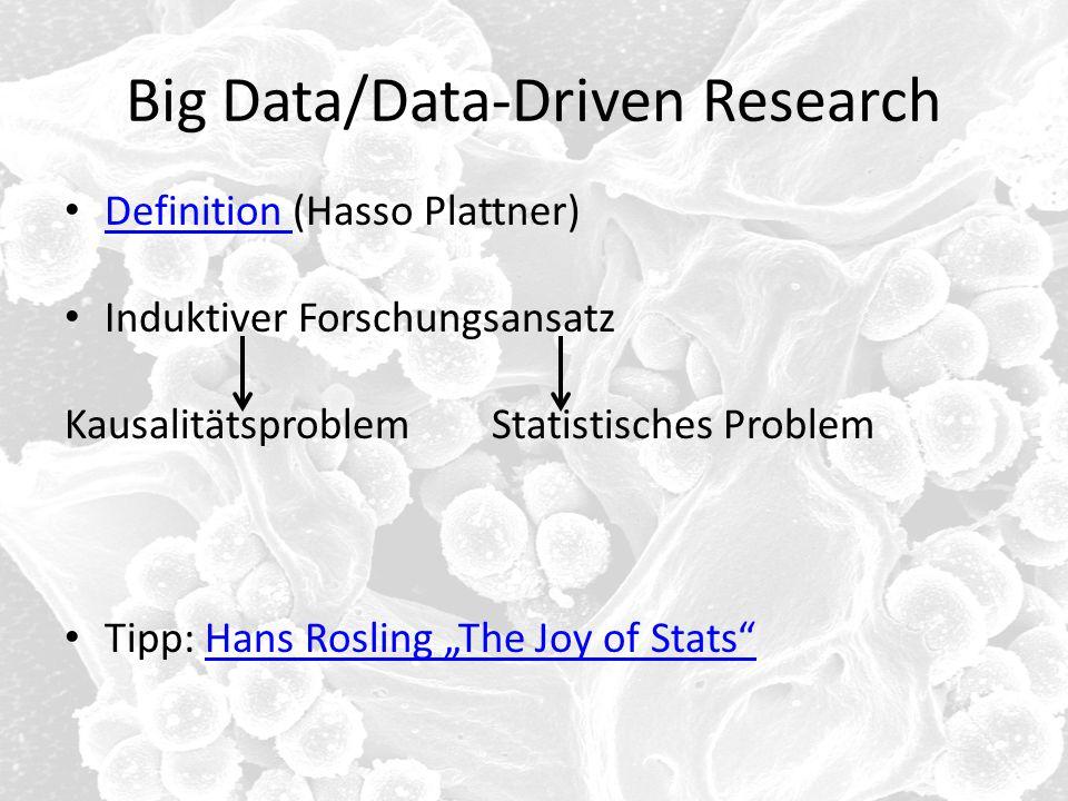 Big Data/Data-Driven Research Definition (Hasso Plattner) Definition Induktiver Forschungsansatz KausalitätsproblemStatistisches Problem Tipp: Hans Ro