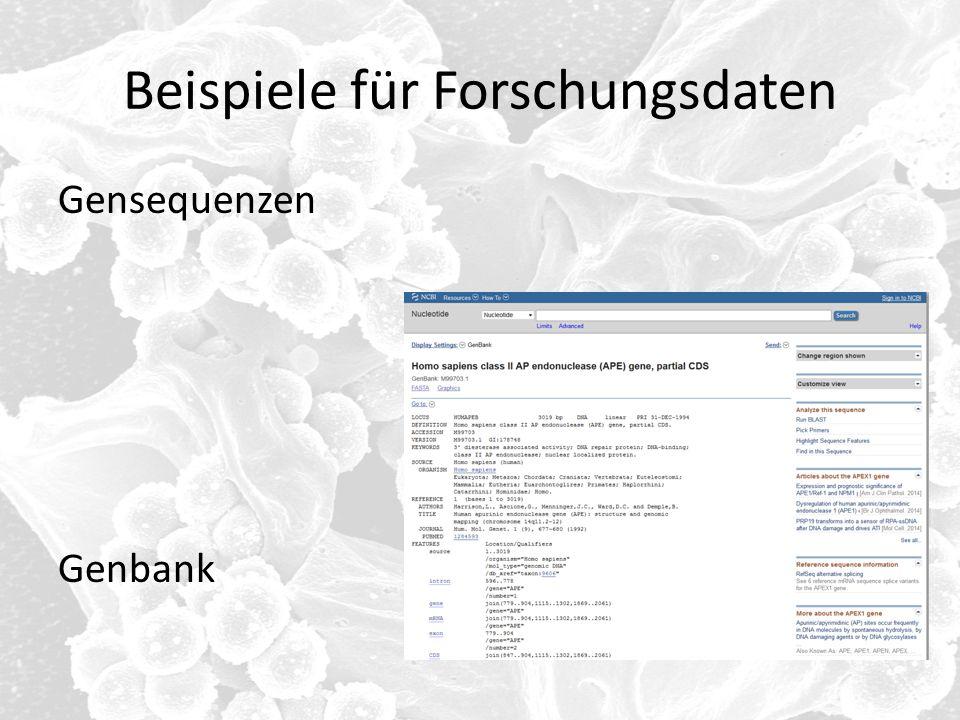 Beispiele für Forschungsdaten Gensequenzen Genbank