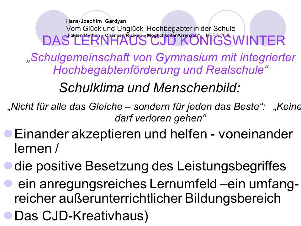"""Hans-Joachim Gardyan Vom Glück und Unglück Hochbegabter in der Schule """"Fakten/Mythen – Chancen/Risiken – Möglichkeiten/Grenzen"""" HEBO 2009 Das christli"""