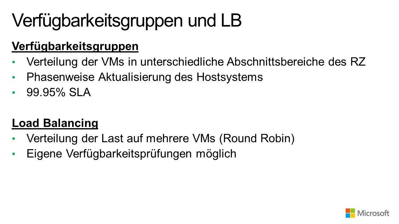 Verteilung der VMs in unterschiedliche Abschnittsbereiche des RZ Phasenweise Aktualisierung des Hostsystems 99.95% SLA Load Balancing Verteilung der Last auf mehrere VMs (Round Robin) Eigene Verfügbarkeitsprüfungen möglich Verfügbarkeitsgruppen und LB