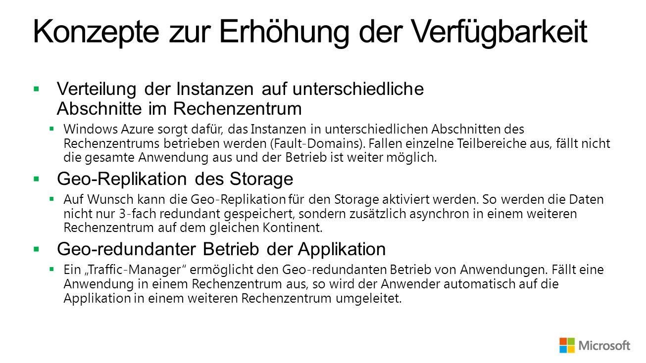 Konzepte zur Erhöhung der Verfügbarkeit  Verteilung der Instanzen auf unterschiedliche Abschnitte im Rechenzentrum  Windows Azure sorgt dafür, das Instanzen in unterschiedlichen Abschnitten des Rechenzentrums betrieben werden (Fault-Domains).