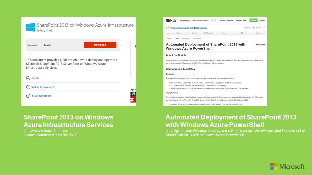 SharePoint 2013 on Windows Azure Infrastructure Services http://www.microsoft.com/en- us/download/details.aspx?id=38428 Automated Deployment of ShareP
