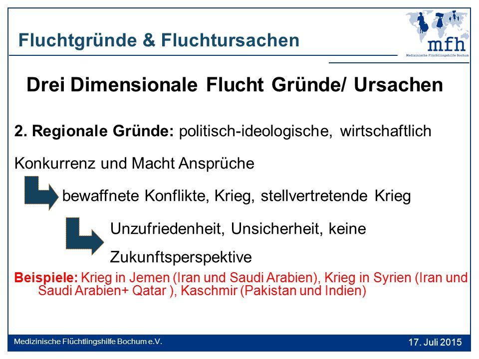 Drei Dimensionale Flucht Gründe/ Ursachen 2. Regionale Gründe: politisch-ideologische, wirtschaftlich Konkurrenz und Macht Ansprüche bewaffnete Konfli